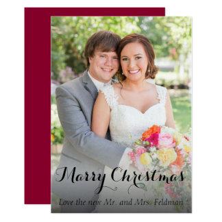 Carte de photo de Noël juste mariée