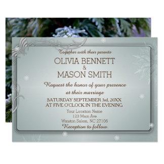 Carte de pin d'hiver et de mariage de flocons de carton d'invitation 8,89 cm x 12,70 cm