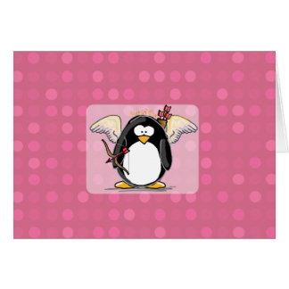 Carte de pingouin de cupidon