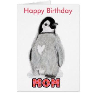 Carte de pingouin de maman de joyeux anniversaire