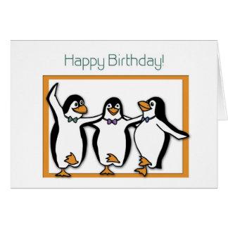 Carte de pingouins de joyeux anniversaire