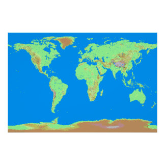 Carte de Pixelated du monde Poster