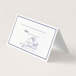 Carte De Placement Bleu marine vintage de la carte #1 de Martha's