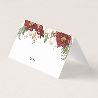Carte De Placement Carte florale d'endroit de mariage de Marsala