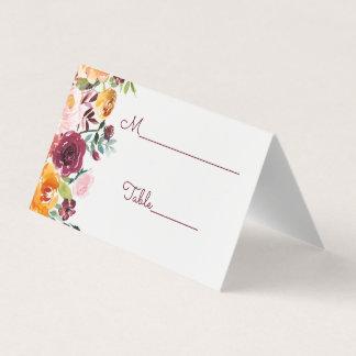 Carte De Placement Carte florale d'escorte de mariage de Bourgogne