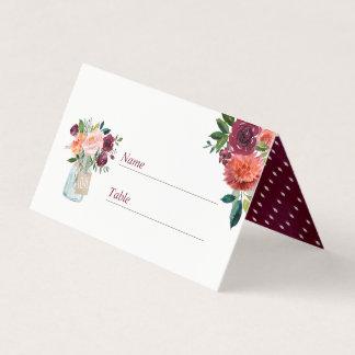 Carte De Placement Carte florale rose d'endroit de mariage de pot de