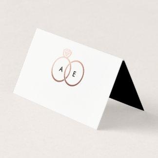 Carte De Placement Carte rose moderne d'endroit de monogramme