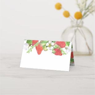 Carte De Placement Été botanique de guirlande de fraises d'aquarell