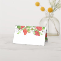 Été botanique de guirlande de fraises d'aquarelle