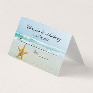 Carte De Placement Étoiles de mer sur la carte de place de réception