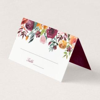 Carte De Placement Fleurs oranges roses de Marsala épousant la carte