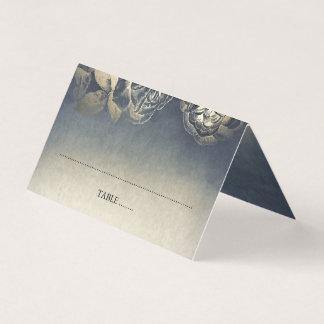 Carte De Placement Mariage vintage de bleu marine d'or et