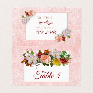 Carte De Placement Rougissent la carte rose de Tableau de bouquet