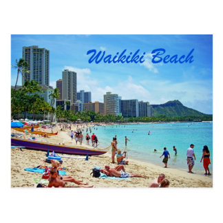 Carte de plage de Waikiki Cartes Postales