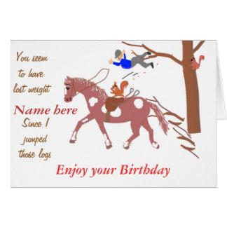 Carte de plaisanterie de poney, avec l'écureuil.