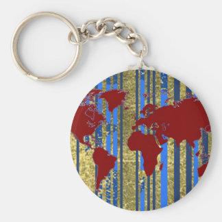 Carte de Planisphere-Monde Porte-clé Rond