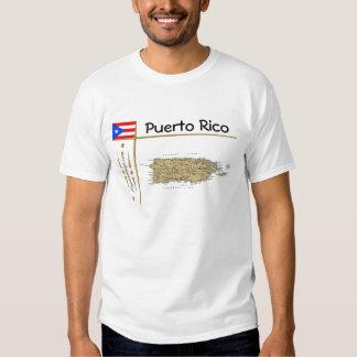 Carte de Porto Rico + Drapeau + T-shirt de titre