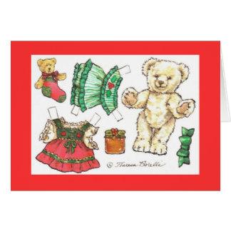 Carte de poupée de papier d'ours de nounours de