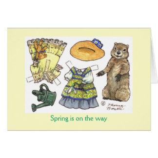 Carte de poupée de papier du jour de Groundhog