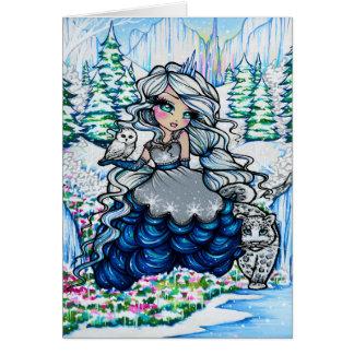 Carte de princesse Milou Owl Fantasy Art de glace