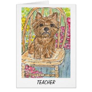 Carte de professeur de Terrier de cairn merci