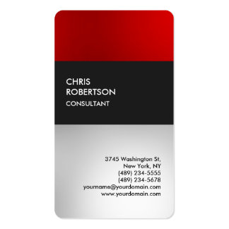 Carte de profil arrondie par gris rouge coloré carte de visite standard