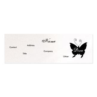 Carte de profil de papillon de diva - Cusomizable Carte De Visite Petit Format