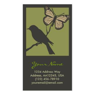 Carte de profil de papillon d'oiseau (vert) carte de visite standard