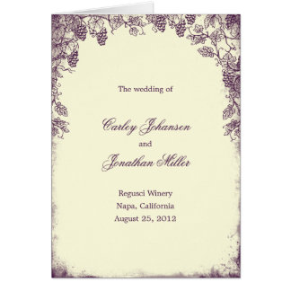 Carte de programme rustique de mariage de vignoble
