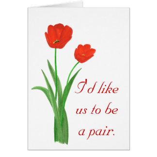 Carte de proposition de mariage, tulipes rouges