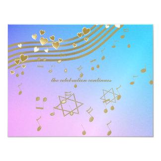 Carte de réception de bat mitzvah de chansons carton d'invitation 10,79 cm x 13,97 cm