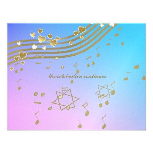 Carte de réception de bat mitzvah de chansons d'am invitations
