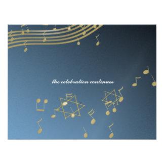 Carte de réception de la barre Mitzvah de musique Cartons D'invitation
