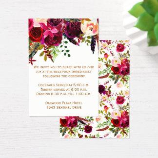 Carte de réception de mariage - Bourgogne floral,