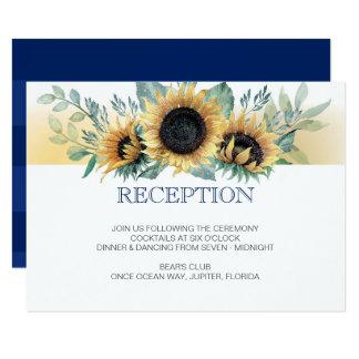 Carte de réception de mariage de bleu marine de