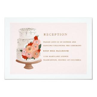 Carte de réception de mariage de gâteau de Fleurs Carton D'invitation 8,89 Cm X 12,70 Cm