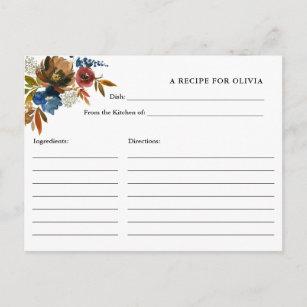 Carte de recette blanche pour fleurs d'aquarelle m