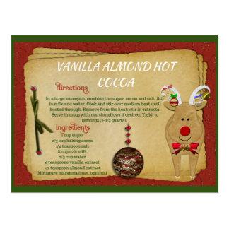CARTE de RECETTE chaude de Noël de cacao d'amande