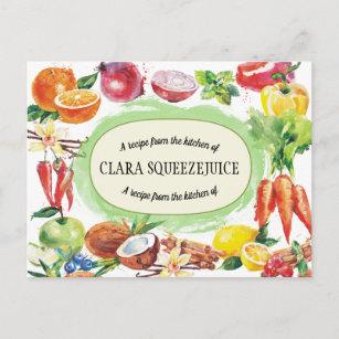 carte de recette de légume fruit d'aquarelle