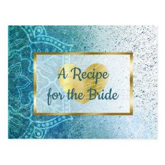 Carte de recette de mariage bleu de mandala et