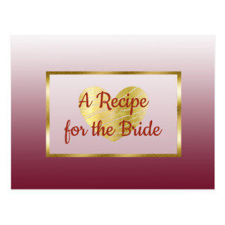Carte de recette de mariage de gradient de