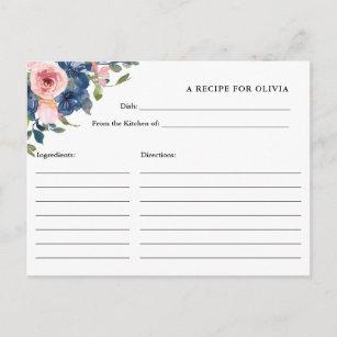 Carte de recette Fleurs d'aquarelle marine et bleu