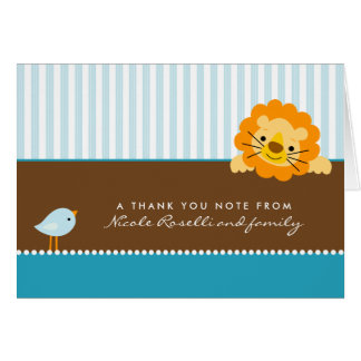 Carte de remerciements adorable de photo de lion