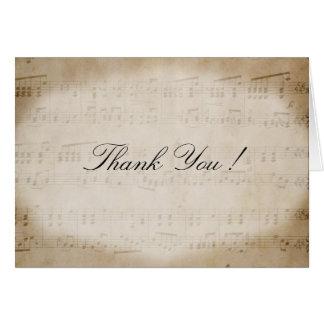 Carte de remerciements antique de musique de