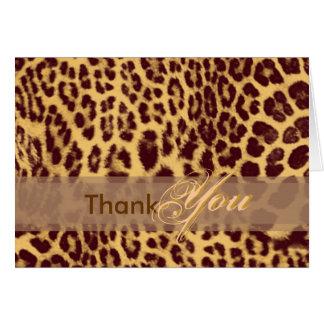 Carte de remerciements, avec la peau de léopard