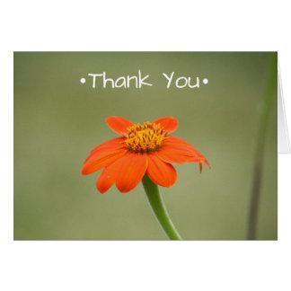Carte de remerciements avec la petite fleur orange