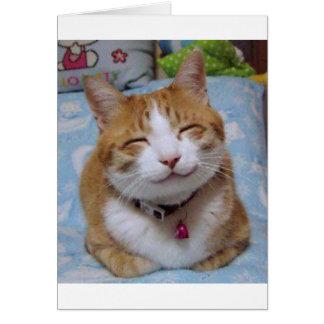 Carte de remerciements avec le chat heureux