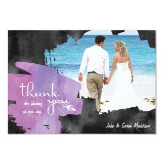 Carte de remerciements avec le noir pourpre carton d'invitation 8,89 cm x 12,70 cm