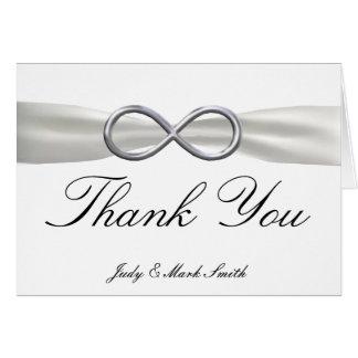 Carte de remerciements blanc de mariage d'infini