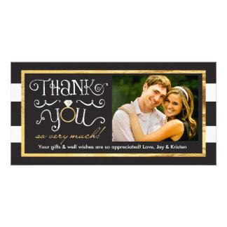 Carte de remerciements blanc noir d'anneau de